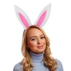 """Карнавальный ободок """"Уши зайца"""", поролон, цвет бело-розовый"""
