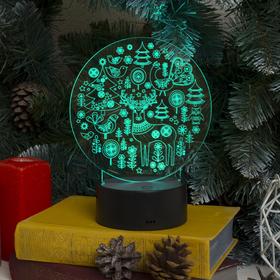 "Подставка световая ""Новогодние фигурки"", USB, AА*3 (не в компл), 10 LED, RGB"