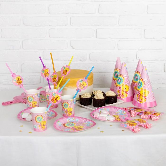 Набор для праздника «Мишка и сладости», на 6 персон, цвет розовый