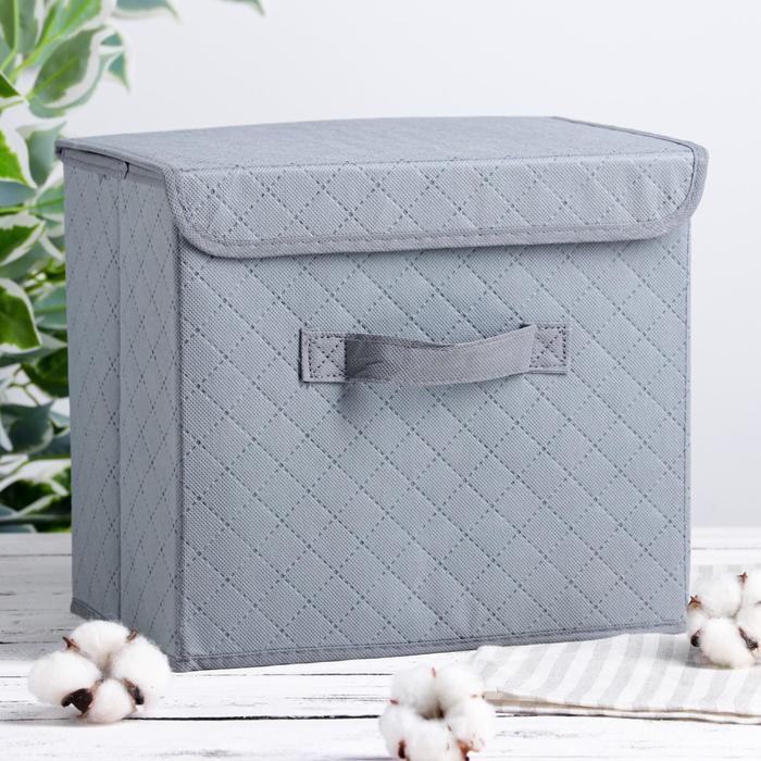 """Короб для хранения с крышкой 30×27×20 см """"Ромбы"""", цвет серый"""