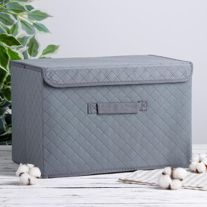 Короб для хранения с крышкой «Ромбы», 39×27×25,5 см, цвет серый - фото 308331955