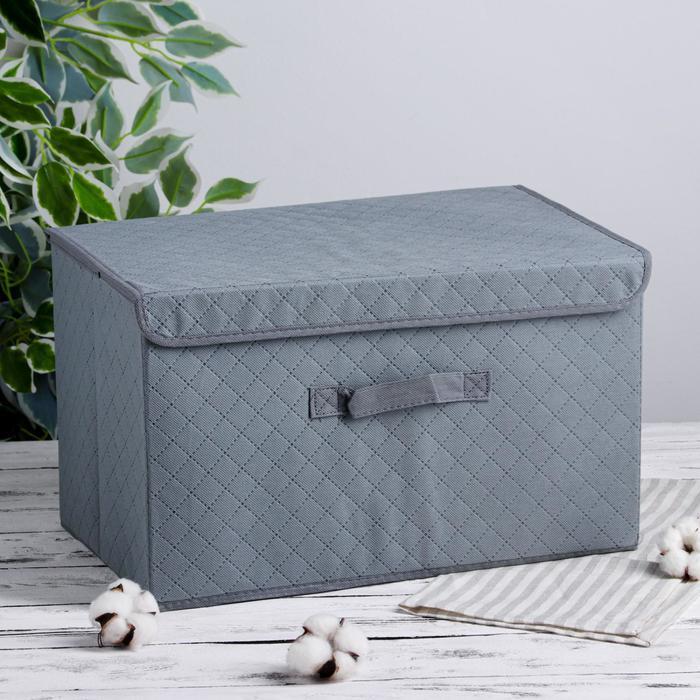 Короб для хранения с крышкой «Ромбы», 44,5×29×25 см, цвет серый - фото 308331959
