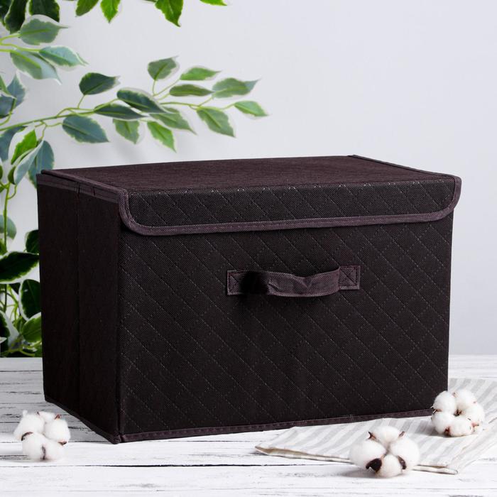 Короб для хранения с крышкой «Ромбы», 39×27×25,5 см, цвет коричневый - фото 308331967