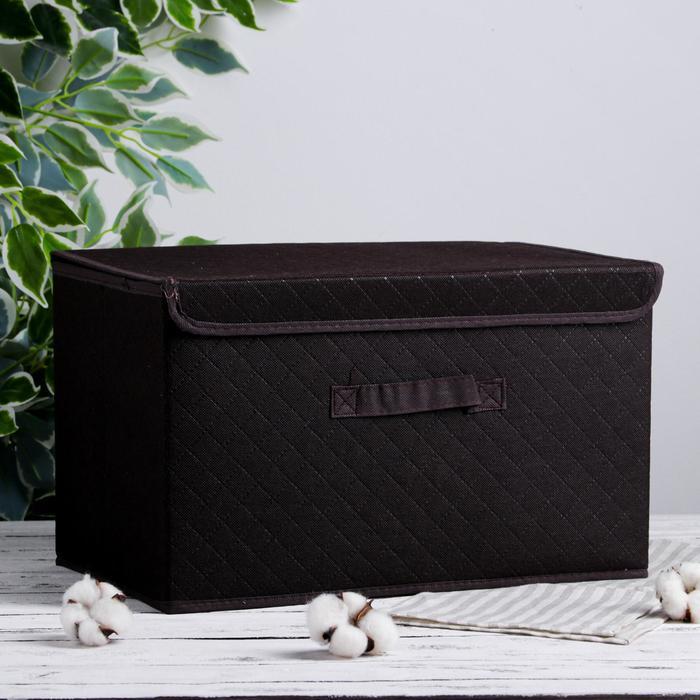 Короб для хранения с крышкой «Ромбы», 44,5×29×25 см, цвет коричневый - фото 308332079