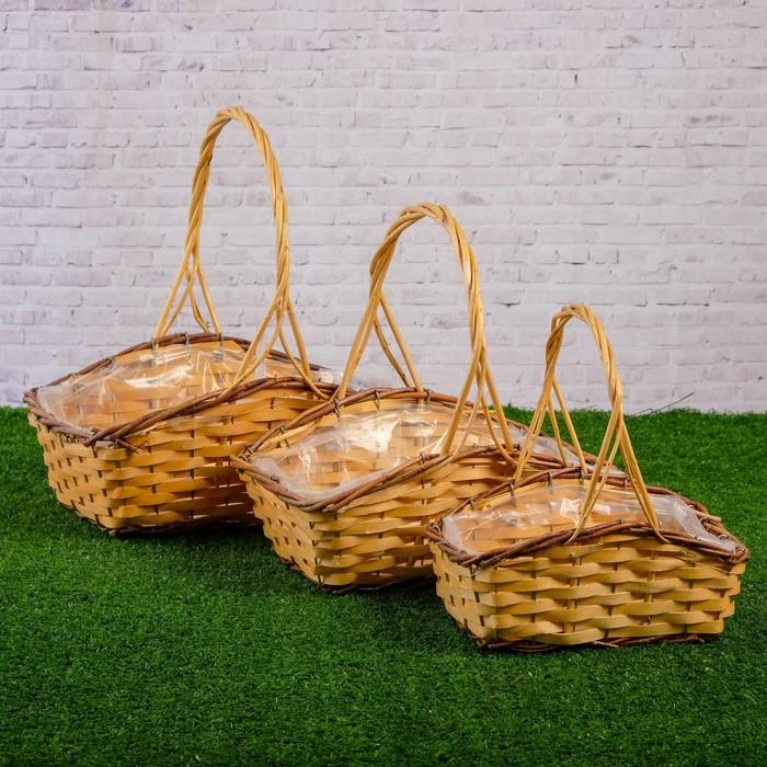 Набор корзин плетеных, ива, 25×17×11/8(28), 20×12×10/7(23), 15×8× 9/6(18) см, 3 шт