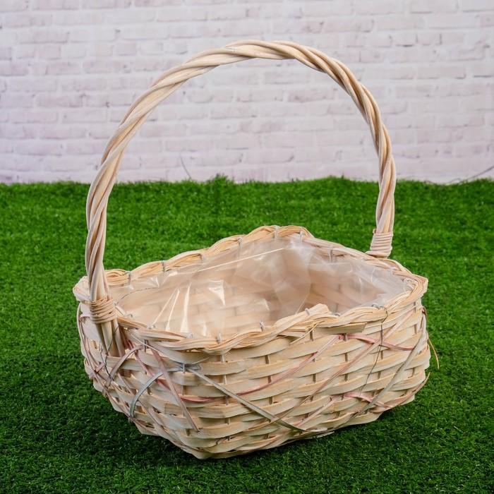 Корзина плетеная, ива, 27×20×12/33 см