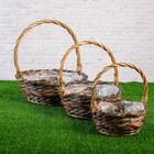 Набор корзин плетеных, ива, 30×30х12/35, 26×26х11/30, 21×21х9/25 см, 3 шт