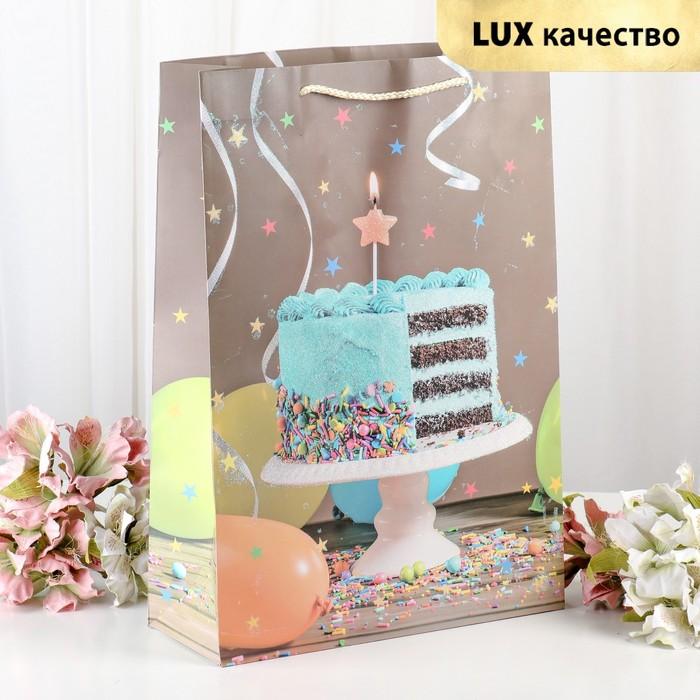 """Пакет ламинированный """"Праздничный торт"""", люкс, 31 х 12 х 44 см"""