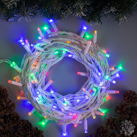 """Гирлянда """"Нить"""" 10 м , IP65, УМС, белая нить, 100 LED, свечение мульти, 220 В"""