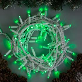 """Гирлянда """"Нить"""" 10 м , IP65, УМС, белая нить, 100 LED, свечение зелёное, 220 В"""