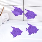 Набор мини-ковриков для ванны «Рыбки», 10×12 см, 4 шт, цвет МИКС - фото 76145230