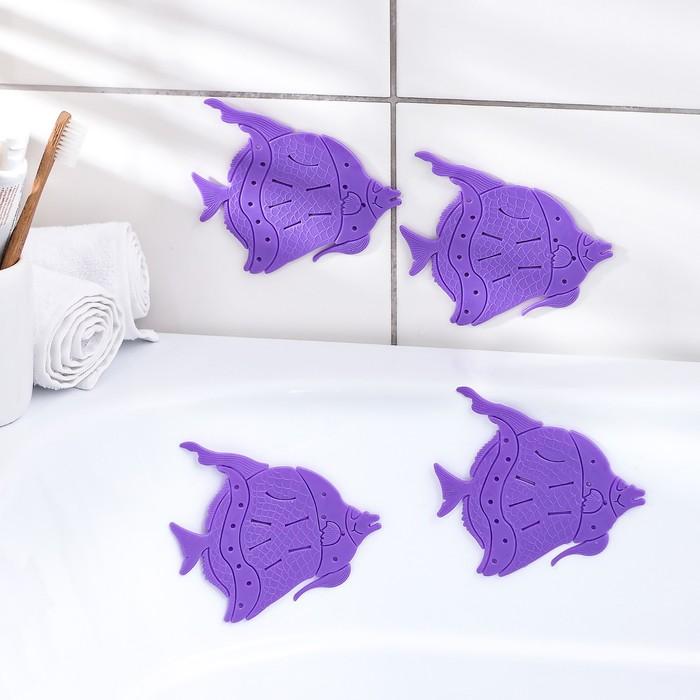 Набор мини-ковриков для ванны «Рыбки», 10×12 см, 4 шт, цвет МИКС