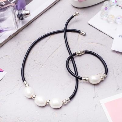 Set of 2 pieces: necklace, bracelet, Mallorca, color white