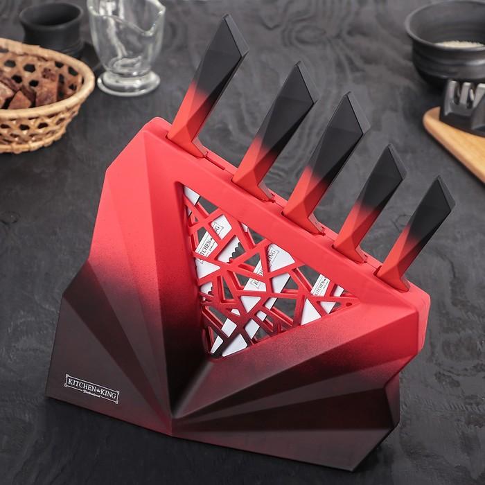 Набор кухонных ножей «Витраж», 5 предметов, цвет красный