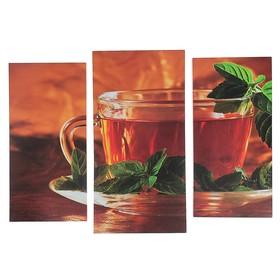 "Модульная картина ""Чай с мятой""  (2-25х52; 1-30х60) 60х80 см"