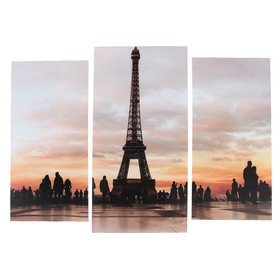 """Модульная картина """"Эйфелева башня""""  (2-25х52; 1-30х60) 60х80 см"""