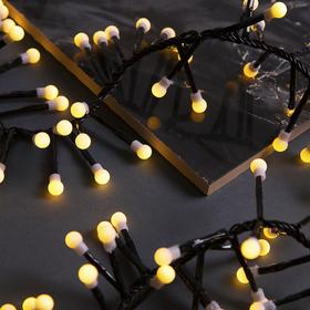 """Гирлянда """"Нить"""" уличная, УМС, мишура шарики 3 м, LED-288-220V фиксинг, нить тёмная, свечение тёплое белое"""