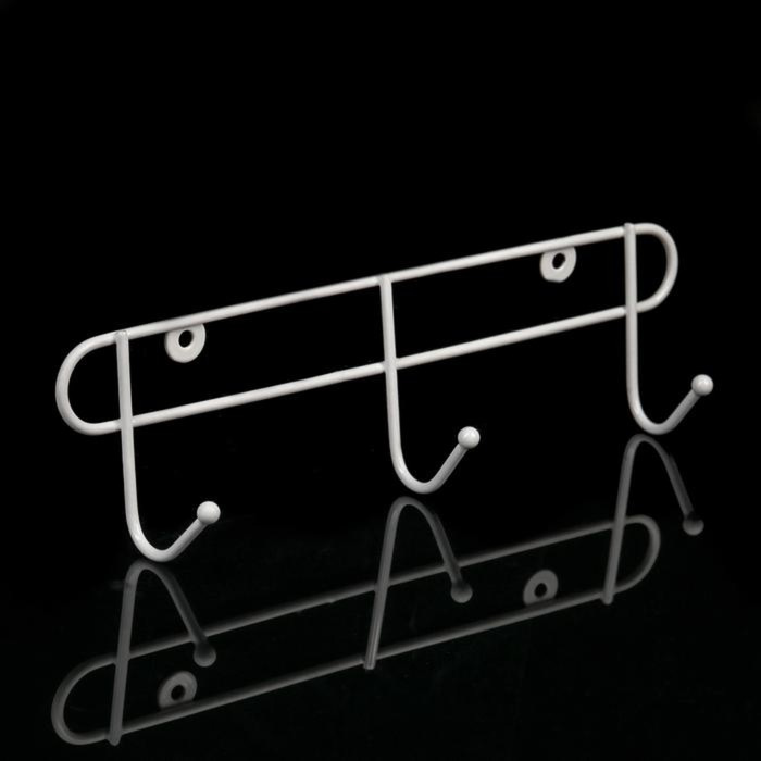 Вешалка настенная на 3 крючка, 30×6×9 см, цвет белый