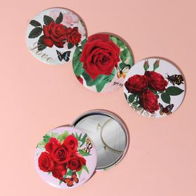 Mirror compact Roses, one-sided, no magnification, MIX color