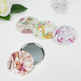 "Mirror compact ""Shoes"", single sided, no magnification, MIX color"