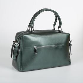 Сумка женская, отдел на молнии, 2 наружных кармана, длинный ремень, цвет зелёный