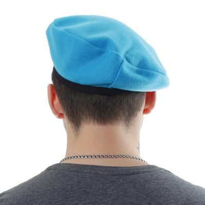 Берет на подкладе, металлическая кокарда, обхват головы 54-58 см, цвет голубой