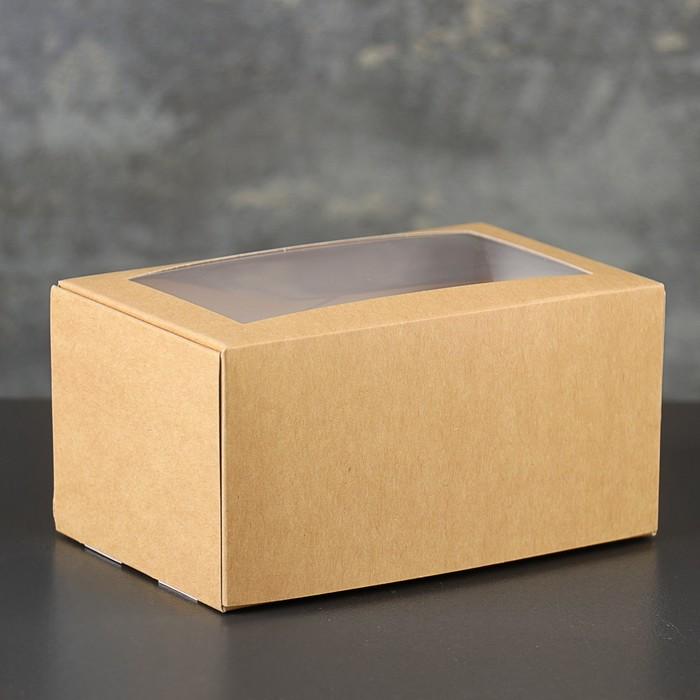 Коробка-моноблок картонная под 2 капкейка, с окном, крафт, 16 х 10 х 8 см - фото 308035580