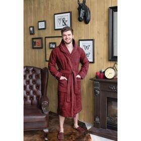 Халат мужской с капюшоном, размер 62, бордовый, махра