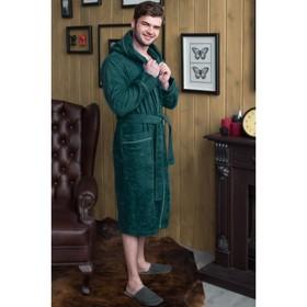 Халат мужской с капюшоном, размер 48, зелёный, махра