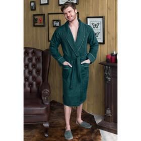 Халат мужской, шалька+кант, размер 48, цвет зелёный, махра