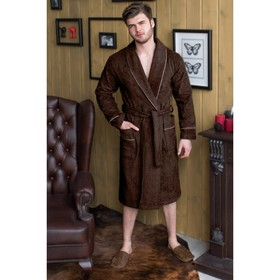 Халат мужской, шалька, размер 54, шоколадный, махра