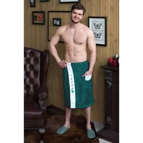 Килт мужской с вышивкой, зелёный, махра