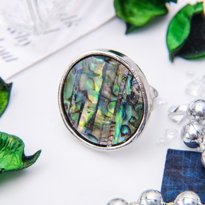 """The ring """"Abalone"""" round, color green, dimensionless"""