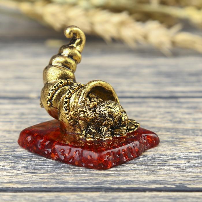 "Фигурка на камне мышка ""Счастья, богатства"", золото, 5 х 4,5 см"