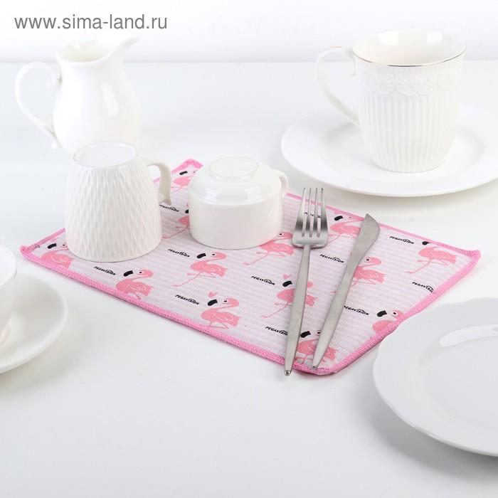 """Коврик для сушки посуды 30х20 см """"Фламинго"""", лён"""