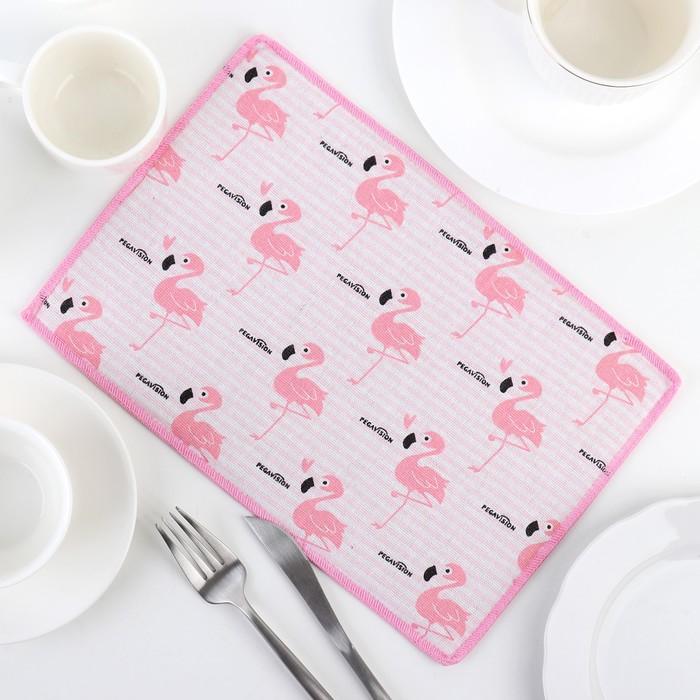 """Коврик для сушки посуды 30×20 см """"Фламинго"""", лён"""