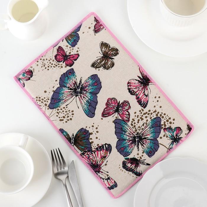 """Коврик для сушки посуды 30×20 см """"Сумеречные бабочки"""", лён"""