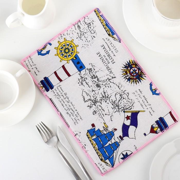 Коврик для сушки посуды «В поисках открытий», 20×30 см, лён - фото 147980714