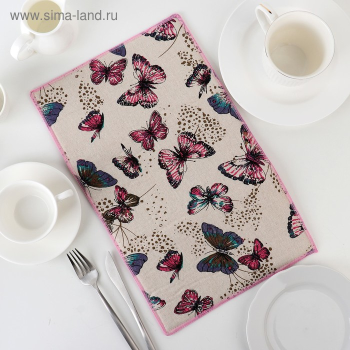 """Mat for drying dishes 25х40 see """"Twilight butterfly"""", linen"""