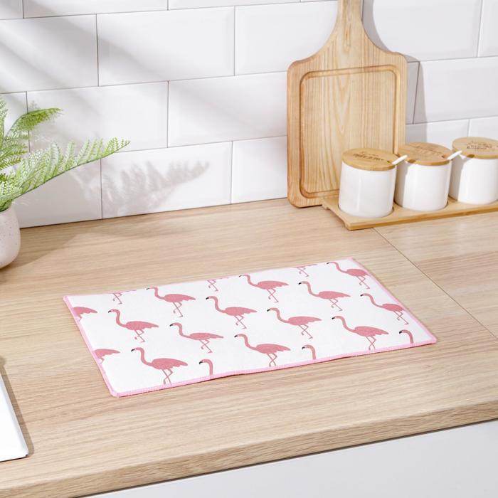 """Коврик для сушки посуды 25×40 см """"Фламинго"""", лён"""