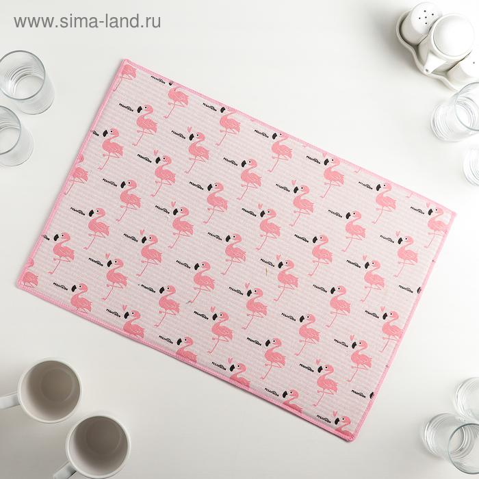 """Mat for drying dishes 34х50 cm """"Flamingo"""", len"""