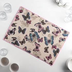 Коврик для сушки посуды «Сумеречные бабочки», 34×50 см, лён