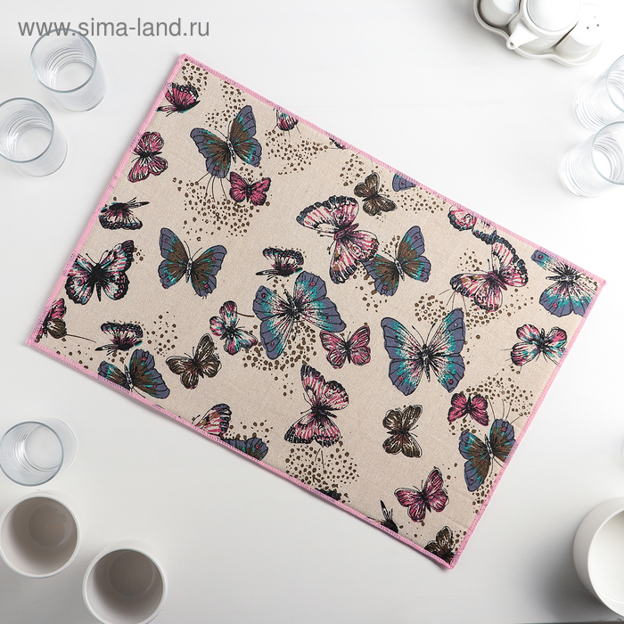 """Mat for drying dishes 34х50 see """"Twilight butterfly"""", linen"""