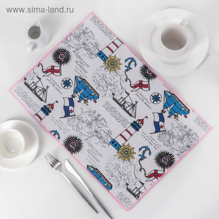 """Mat for drying dishes 34х50 cm """"In quest of discoveries"""", len"""