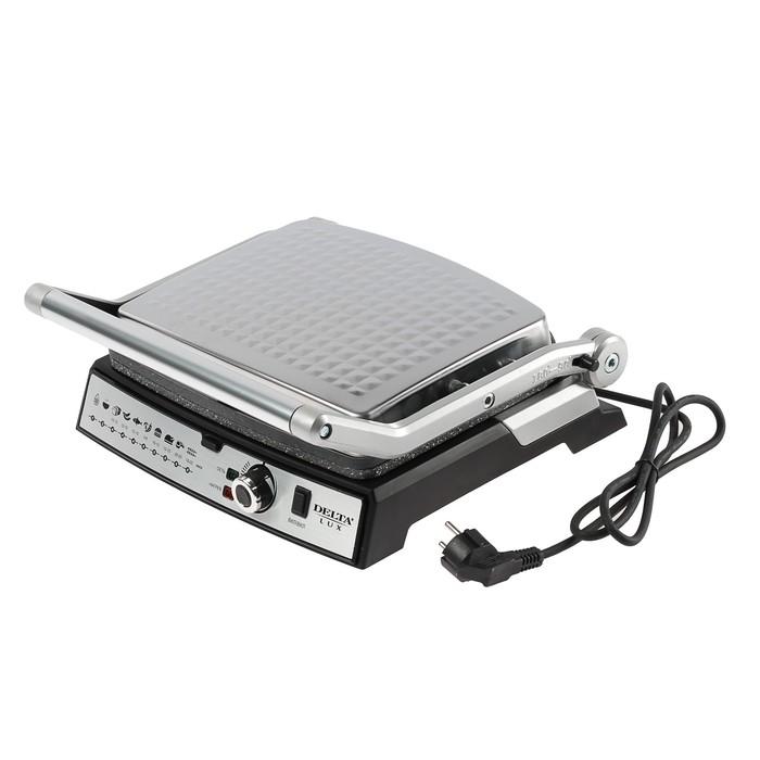 Гриль DELTA LUX DL-054, 2200 Вт, антипригарное покрытие, серебристый