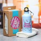Набор «Donut worry»: бутылка для воды 400 мл, полотенце 33 × 33 см