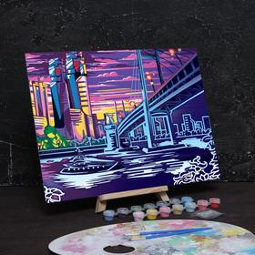 """Moon painting by numbers """"Town"""" with colors 14 pieces in 3 ml+brush + 30*40 cm"""