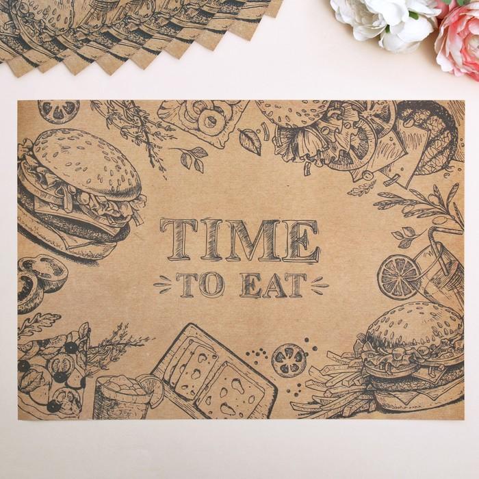 """Набор бумажных салфеток """"Time to eat"""", 10 шт., 35 х 25 см"""