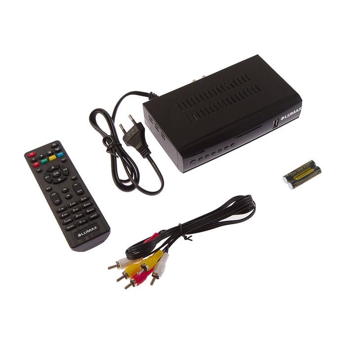 Приставка для цифрового ТВ Lumax DV4201HD, FullHD, DVB-T2/C, дисплей, HDMI, RCA, USB, черная
