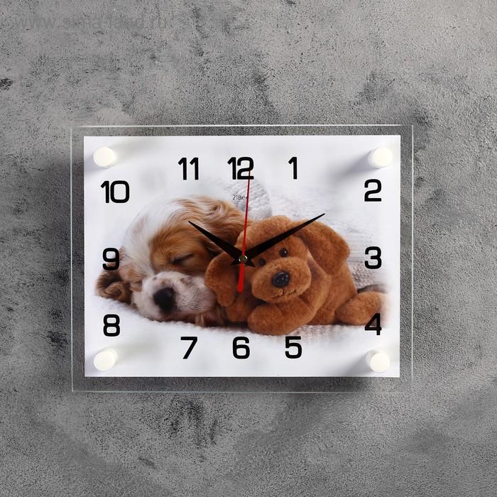 """Часы настенные, серия: Животный мир, """"Щенок и мишка"""", 20х26 см микс"""